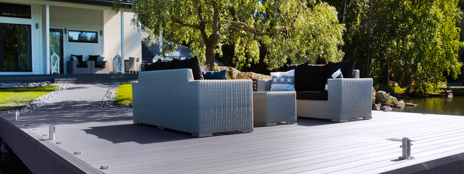 Composite decking with high friction surface